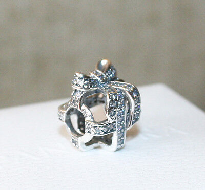 Genuine Authentic Pandora Sterling Silver and CZ Openwork Gift Charm