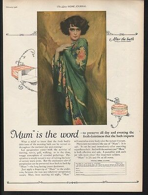 1926 Mum Deodorant Perspiration Toilet Beauty Sexy Chambers After Bath Ad [Sku]
