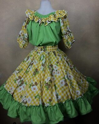Vintage Square Dance Outfit Skirt & Blouse Yellow Daisy Check Green Ruffle Trim