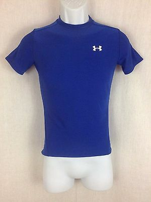 Boy's blue workout Shirt by Under Armour heat gear Size L youth fitted