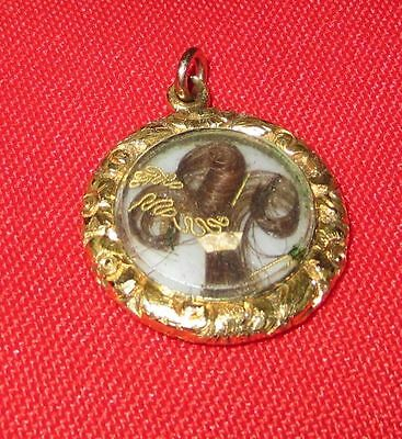 Antique Georgian/Early Victorian 14K Gold Hair Mourning Pendant, ca 1780-1840