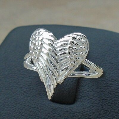 Love Heart Wings Angel 925 Sterling Silver Ring Size 8 Solid Hallmark No Sto New