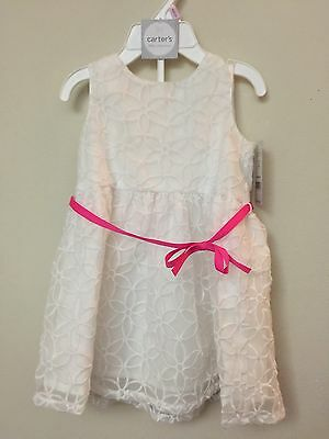 Carter's Baby Girl White Embroidered Formal Sleeveless Dress Easter Church 9 mos