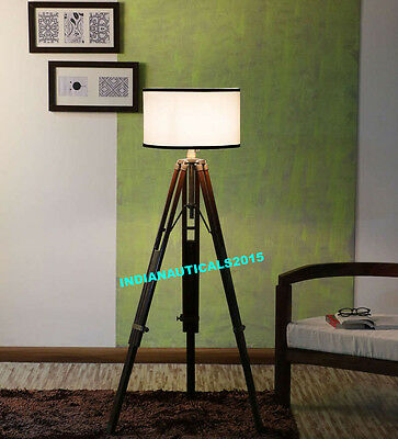 Industrial Nautical Floor Shade Lamp Brown Wooden Tripod Stand Home Decor Gift