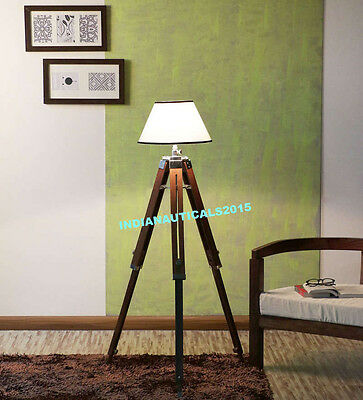 Vintage Nautical Floor Lamp Wooden Tripod Lighting Shade Stand Home Decor
