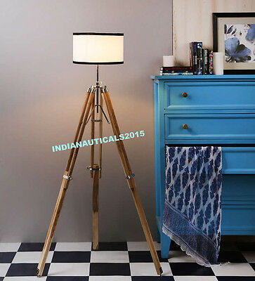 Decorative Nautical Floor Lamp Shade Wooden Tripod Stand Home Decor