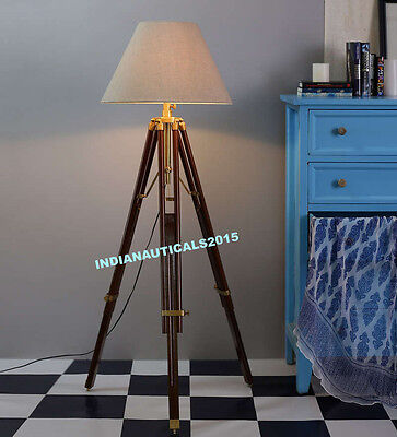 Hollywood Nautical Floor Lamp Wooden Tripod Lighting Stand Shade Decor GIFT