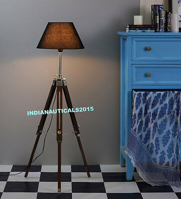 Industrial Nautical Floor Shade Lamp Brown Tripod Stand Home Decor