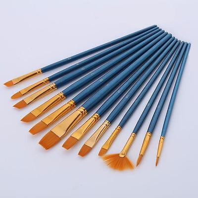 12x Nylon Hair Paint Brush Set Artist Watercolor Acrylic Oil Painting Supplies