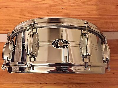 VINTAGE 1970's SLINGERLAND 5x14 CHROME OVER BRASS SNARE! COB WITH CASE!