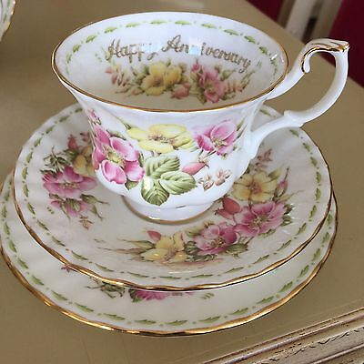 Royal Albert Happy Anniversary Trio Cup, Saucer Plate Flowers Of The Month Serie