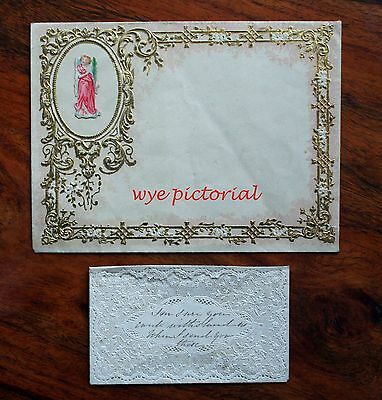 2 X Victorian Valentine Envelopes Gilded Unused & Lace Paper Mansell Used A/f