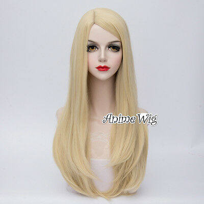 Lolita Light Blonde Long 65CM Wavy Side Part Fashion Party Cosplay Wig + Wig Cap