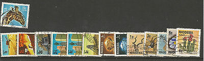 Lot Of 14 Values Rhodesia Stamps Used;animals, Flowers,diamonds Etc