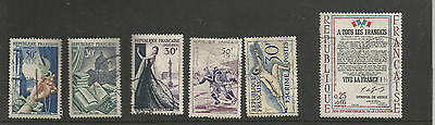early France Commemorative Stamps - culture, sport,  history-  used