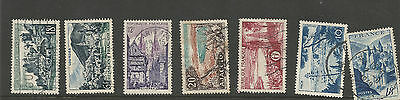lot; early France Commemorative Stamps - famous places,  views -  used