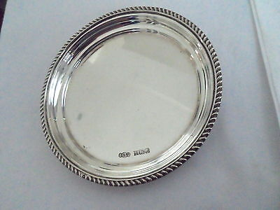 Vintage Solid Silver Wine Glass Coaster Hm Birmingham 1975 Weight 80 Grms