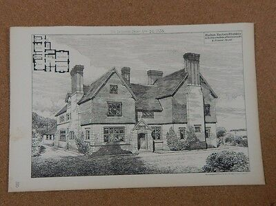Antique Architects Print,Halkyn Rectory Flintshire The building News 1885