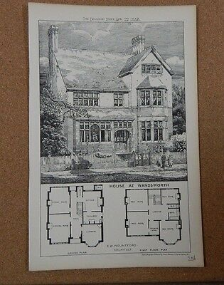 Antique Architects Print, House at Wandsworth Building news 1888