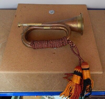 Brass & Copper Military Bugle with cord and tassles .vintage