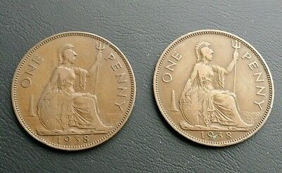 British One Penny Coin 1938 King George VI Very Good condition