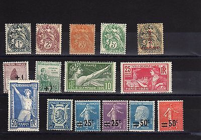 15   timbres    france    infime    charnieres beau   lot