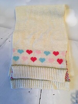 Girls Cream Sparkly Heart Pattern Scarf One Size