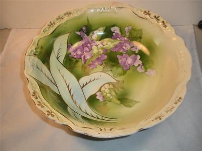 Antique Three Crowns Serving Bowl Dish With Hand Painted Violets -Gorgeous!