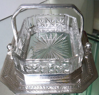 Victorian Sheffield Silver P/cut Glass Preserve/bonbon Basket-Atkin Bros