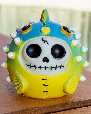 FurryBones Puffington Figurine Pufferfish Cute Gothic Skull Skeleton Gift Fun