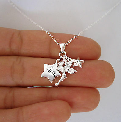 925 Sterling Silver TINKERBELL FAIRY STAR 3 charms with chain necklace