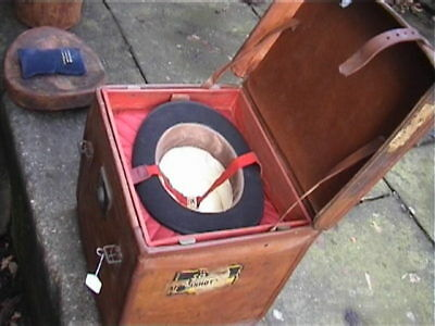 Large Vintage Double Leather Hat Box Carrying Case