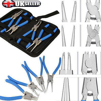 4ps Extra Long Nose Pliers Set Straight Bent Tip Mechanic Equipment Hand Tool 7""