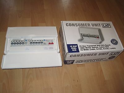 LAP Consumer Unit, 10 Way Populated Dual RCD Board, NEW BOXED with instructions.