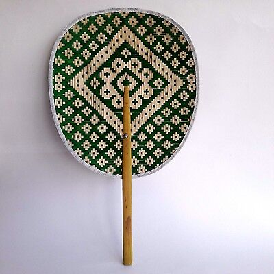 Fan Bamboo Thai Handcraft Vintage Art Traditional Collectible