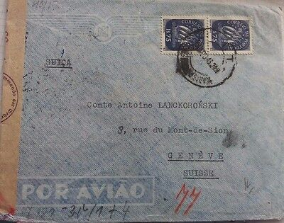 Portugal Airmail Cover To Switzerland Censored In Germany In Transit