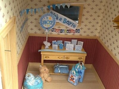 Dolls house miniature 12th scale - Baby Boy decoration set