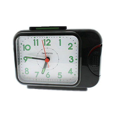 Black Acctim Bentima Sonnet Bell Alarm Clock With Light And Snooze 12613