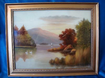 An Antique Or Vintage Oil Painting On Glass, 'river Sunset'.