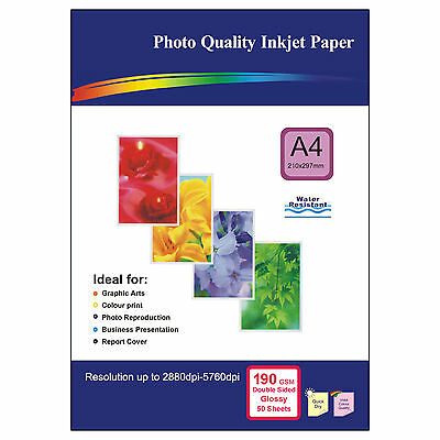 50 Sheets of Double-sided A4 190gsm High Quality Glossy Photo Paper for Inkjet