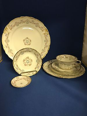 7pc Place Setting THEODORE HAVILAND Limoges Floral Dinnerware SCHLEIGER 330