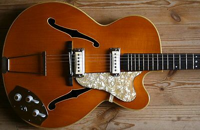 EXTREMELY RARE 60s HOPF GERMANY THINLINE ELECTRIC JAZZ GITARRE BEAUTIFUL COLOR