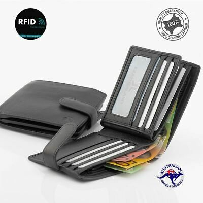 RFID New Genuine Full Grain Cowhide Leather Wallet Black 15 Cards Slots