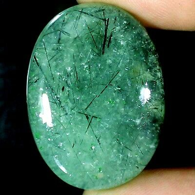 80.15 CTs 100% NATURAL BLACK NEEDLE Prehnite OVAL CABOCHON ULTRA RARE GEMSTONE