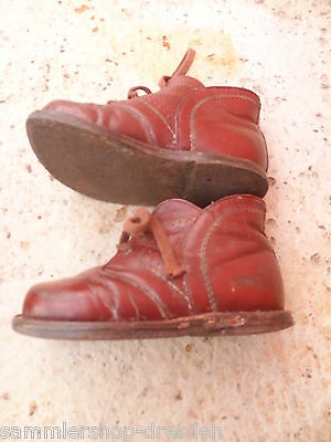 24075 alte Kinderschuhe Puppenschuhe Leder vint Doll`s shoes leather 15cm