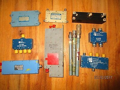Microwave parts incl power dividers, duplexer, directional coup, terms, hybrid