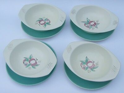 Vintage Poole Pottery YU Design Red Pippin : 4 x Bowls with Saucers