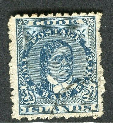 COOK ISLANDS;  1893 early classic issue fine used 2.5d. value
