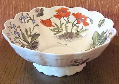 Staffordshire Fine Bone China Scalloped Serving Bowl with Colourful Flowers.