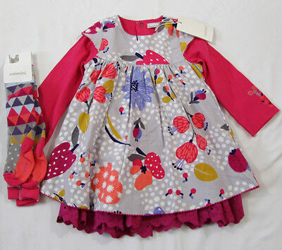 Catimini girls Spirit Couleur dress and tights 18 months rrp £71 BRAND NEW